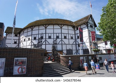 LONDON, UK-1 JUNE 2019: Shakespeare's Globe is the complex housing a reconstruction of the Globe Theatre, an Elizabethan playhouse associated with William Shakespeare,on the south bank of River Thames