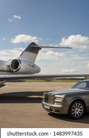 London, UK-7 MAY, 2019: Very expensive luxury Rolls Royce Phantom car parked on the runway at international Heathrow Airport. Space for text. VIP car.