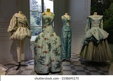 London, UK-August, 26,2019; Haute couture designs by John Galliano for Dior House in presented at Victoria and Albert Musem for 'Christian Dior, designer of dreams' exhibition.