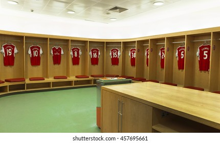 LONDON, THE UK-CIRCA MAY 2016: Changing room at Emirates Stadium - the official playground of FC Arsenal