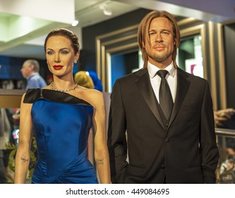 LONDON, THE UK-CIRCA MAY 2016: Royal Hollywood couple - Angelina Jolie and Brad Pitt wax figures in Madame Tussauds museum