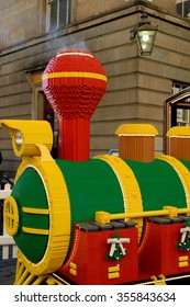 LONDON, UK-December 28,2015: The LEGO Santa Express train made with 500,000 bricks and build by eight people over  three months.
