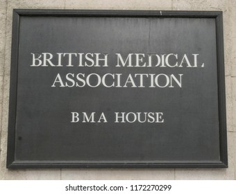 LONDON, UK-FEBR 11,2018: British Medical Association House wall sign in Tavistock Square London with worn down lettering