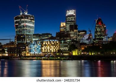 London, UK-July 20, London at night, July 20.2014 in London
