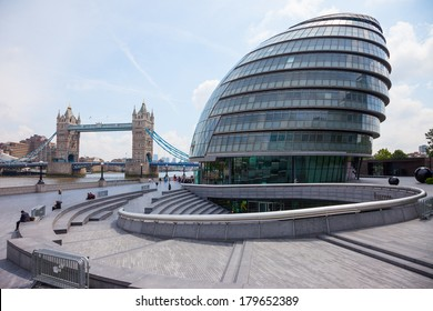 London, UK-June 7, 2009:The City Hall is the headquarters of the Greater London Authority. It is located on the River Thames near Tower Bridge. It was designed by Norman Foster and opened in July 2002