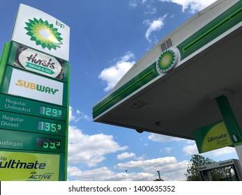 London, UK/May 12, 2019: BP petrol station in operation.