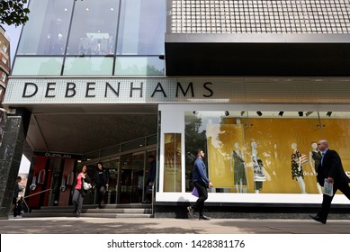 London, UK/May 22, 2019: Debenhams store on the Oxford street. Debenhams is a British multinational retailer operating under a department store format in the United Kingdom and Ireland.