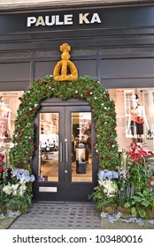 LONDON, UK-MAY 25:  Paule Ka's boutique decorated with a floral display for the Chelsea in Bloom competition that runs along side the Chelsea Flower Show. May 25, 2012 in London UK