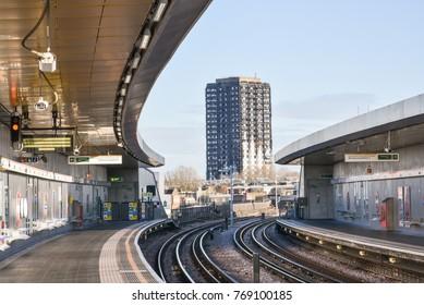London, UK-November 25, 2017 View of the burnt Grenfell Tower from the White City tube station London, UK on November 25, 2017.