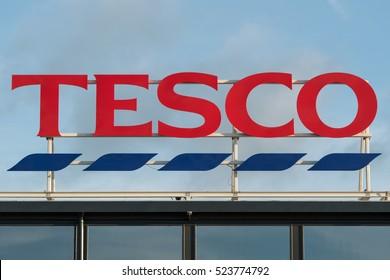 LONDON UK-NOVEMBER 26 2016 :Tesco logo advertising sign outside its retail supermarket stores in London.