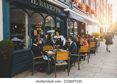 LONDON, UK-OCTOBER 11, 2018. Street view with restaurant terrace during the morning in London, outdoor