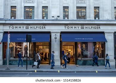 London, UK,September 20, 2019, Tommy Hilfiger shop in Central London