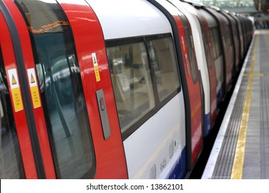 London Under ground or tube train in a station at Stratford, London.