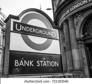 London Underground - Bank station - LONDON / ENGLAND - SEPTEMBER 19, 2016