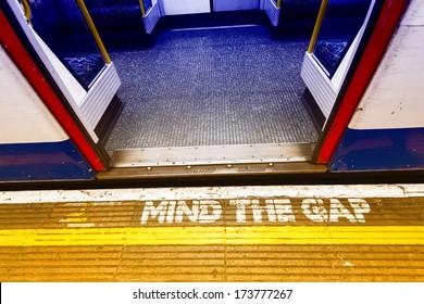 London underground sign, mind tha gap.