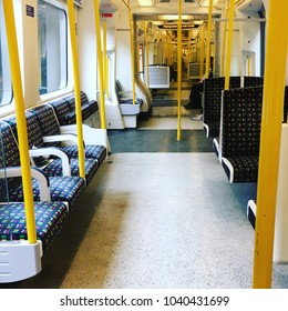 London Underground Train, Interior of Carriage, England
