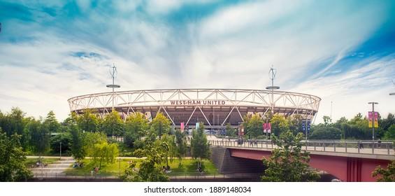 LONDON, UNITED KINDOM - jUNE 2, 2020 : West Ham United football stadium during lockdown in Stratford Olympic Park, London.
