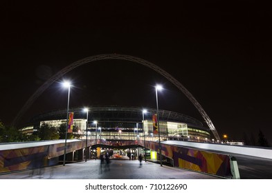 London, United Kingdom - 02, Noe, 2016: Wembley stadium at night. It's a football stadium in Wembley Park, which opened in 2007 on the site of the original Wembley Stadium which was demolished in 2003