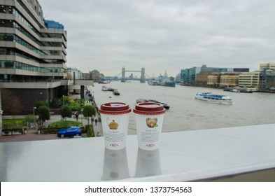 London, United Kingdom - 03 21 2019 - Pret a Manger coffee with the panoramic view to Thames and London Bridge, a walk in the London city with my love and sister