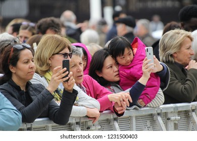 London / United Kingdom - 04.24.2018: Members of the public at the unveiling of the statue of suffragette Millicent Fawcett  in Parliament Square