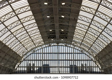 London, United Kingdom / 05 19 2018: filigree roof construction of OLYMPIC NATIONAL CENTRAL LONDON exhibition hall