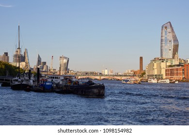 London / United Kingdom - 05 20 2018: Skyline in evening sun at the Themse