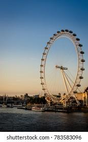 London, United Kingdom - 05 Jul 2017: London Eye at night