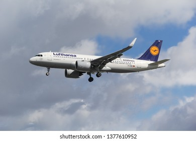 London / United Kingdom - 08 19 2017: Commercial airplane airbus a320 of Lufthansa Airlines landing at the Heathrow airport.