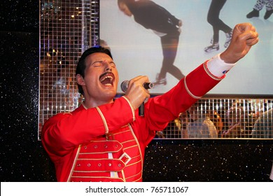 London, - United Kingdom, 08, July 2014. Madame Tussauds in London.  Waxwork statue of Freddie Mercury. Created by Madam Tussauds in 1884, Madam Tussauds is a waxwork museum and tourist attraction