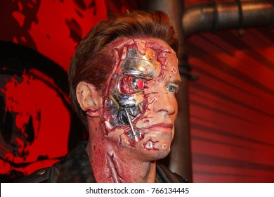 London, - United Kingdom, 08, July 2014. Madame Tussauds in London.  Waxwork statue of Arnold Schwarzenegger. Created by Madam Tussauds in 1884, Madam Tussauds is a waxwork museum.