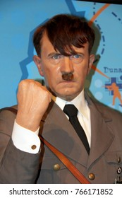 London, - United Kingdom, 08, July 2014. Madame Tussauds in London.  Waxwork statue of Adolf Hitler. Created by Madam Tussauds in 1884, Madam Tussauds is a waxwork museum and tourist attraction