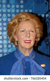 London, - United Kingdom, 08, July 2014. Madame Tussauds in London.  Waxwork statue of Margaret Thatcher . Created by Madam Tussauds in 1884., Madam Tussauds is a waxwork museum and tourist attraction