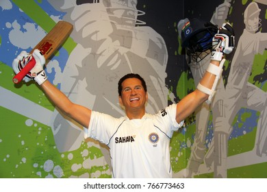 London, - United Kingdom, 08, July 2014. Madame Tussauds in London.  Waxwork statue of Sachin Tendulkar. Created by Madam Tussauds in 1884, Madam Tussauds is a waxwork museum and tourist attraction