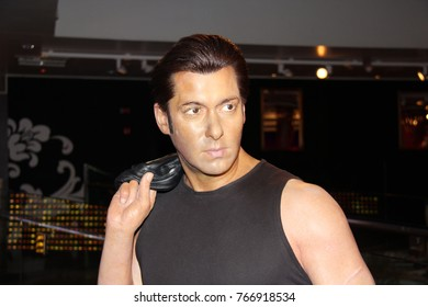 London, - United Kingdom, 08, July 2014. Madame Tussauds in London.  Waxwork statues of Salman Khan. Created by Madam Tussauds in 1884, Madam Tussauds is a waxwork museum and tourist attraction