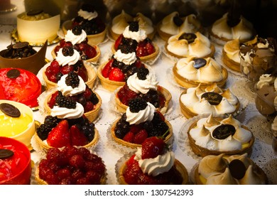 London / United Kingdom - 1. 15.2019: Cream cakes in the window of Caffe Concerto in West End