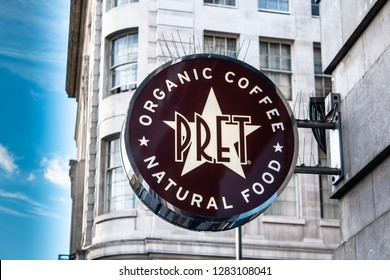 London / United Kingdom - 10.18.2018: A round sign of the PRET logo outside the company's branch in Marble Arch