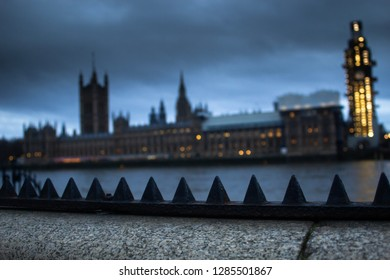 London / United Kingdom - 1.15.2019: The Houses of Parliament on the night of Theresa May's EU / UK Deal proposal vote