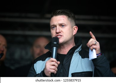 London / United Kingdom 12.12.2018 Tommy Robinson giving a speach at the  Brexit Betrayed Rally organised by UKIP in London