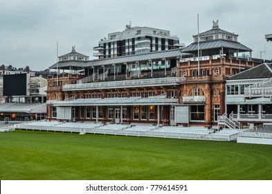 London, United Kingdom - 12/18/2012 : The grand Old Pavilion in The Lord's Cricket Ground on an overcast day.