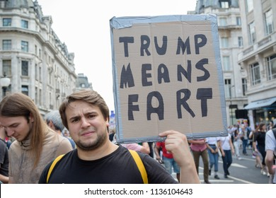 London, United Kingdom, 13th July 2018:Placards carried by anti Donald Trump protesters marching in central London