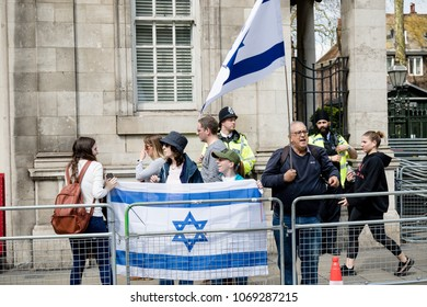London, United Kingdom, 14th April 2018:- A group of Pro Israel protester opposite a gathering of pro Palestine protesters, near the Israeli Embassy in London.