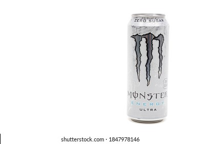 London, United Kingdom, 14th October 2020:- A Can of Monster Zero Sugar Ultra Energy Drink Isolated on a white background