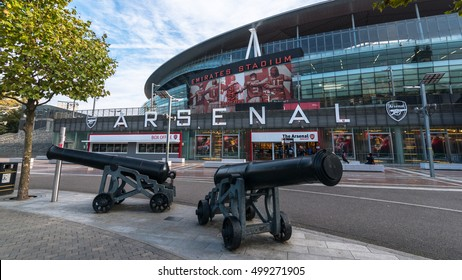 LONDON, UNITED KINGDOM - 15 OCT 2016: Outside view of Emirates Stadium,the home ground for Arsenal Football Club. With a capacity of over 60,000, it is the third-largest football stadium in England.
