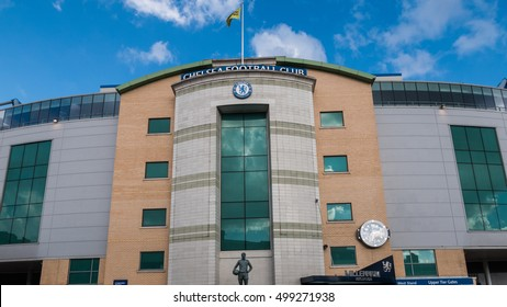 LONDON, UNITED KINGDOM - 15 OCT 2016: The outside view of Stamford Bridge, the home ground of Chelsea Football Club. Photo taken after premier league clash between Chelsea and Leicester City.