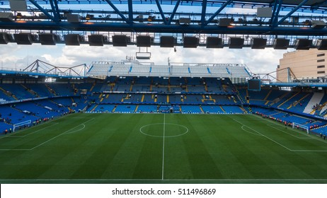 LONDON, UNITED KINGDOM - 15 OCT 2016: The inside view of Stamford Bridge, the home ground of Chelsea Football Club.
