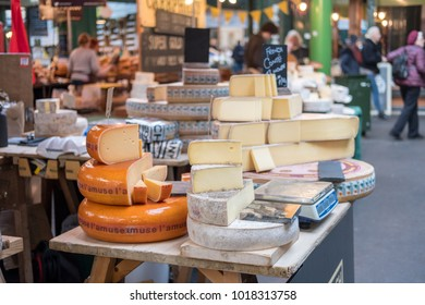 London, United Kingdom - 16 November 2017: Cheese Display in Borough Market, a source of British and International produce, and London's most renowned food and drink Market
