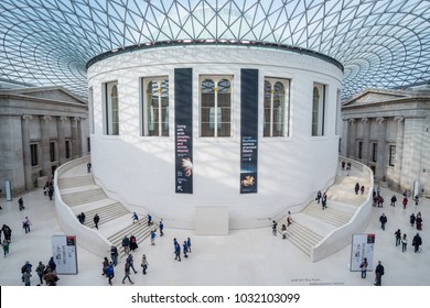 London, United Kingdom - 16 November 2017: People in the Great hall of British Museum, which is dedicated to human history, art, and culture.