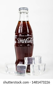 London, United Kingdom, 16th August 2019:- A diet coke glass bottle with ice. Diet Coke is sweetened with Aspartame