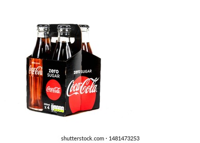 London, United Kingdom, 16th August 2019:- A pack of 4 Coca-Cola zero glass bottles. Coke Zero is sweetened with Aspartame.