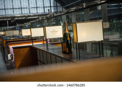 London, United Kingdom, 17th July 2019, Bottle of Champagne at the St Pancras Station Champagne Bar